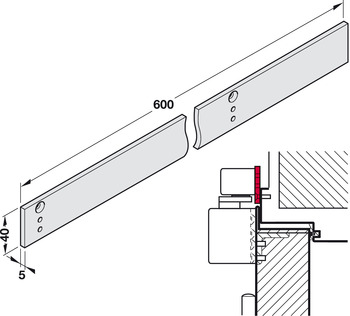 Mounting plate, for G93-SR, TS 93 guide rail