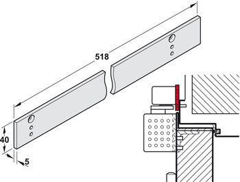 Mounting plate, for guide rail from the TS 93 EMF range