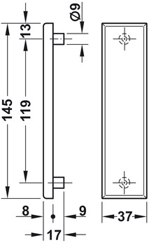 Mounting set, for glass door mounting, blank escutcheons