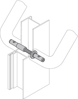Mounting set, Hewi, wooden, plastic and aluminium door