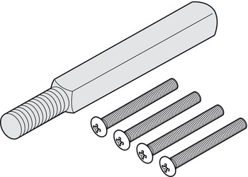Mounting set, With alternate spindle 8 or 9 mm