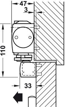 Overhead door closer, TS 5000 EFS, EN 2–5, with guide rail