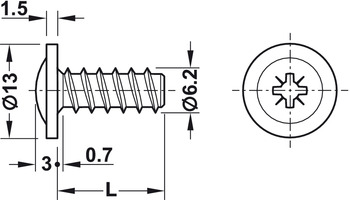Panel mounting screw, Flat head, PZ, fully threaded, for Ø 5 mm drill holes in wood