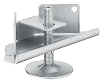 Plinth height adjuster, with supporting bracket, for groove mounting and screw fixing