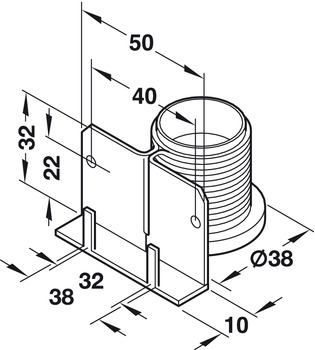 Plinth height adjuster, with supporting bracket, for mounting in drilled hole and screw fixing