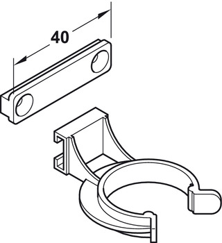 Plinth panel clip, Also suitable for Häfele AXILO™ 78 plinth system