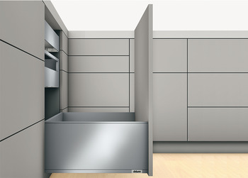 Pull-out set, Legrabox pure, drawer side height 240 mm, for system height F, with Blumotion cabinet rail