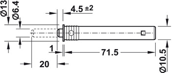 Push catch, For mounting in drilled hole