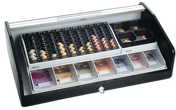 Roll top cash box, 10 coin trays/7 banknote compartments/4 removable trays