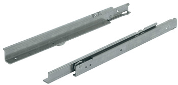Roller runners, single extension, load-bearing capacity up to 100 kg, stainless steel, for surface mounting