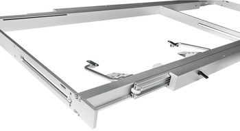 Roller runners, With pull out frame, for 1 folding extension leaf, for tables with frame