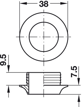 Rosette, for Push-Lock, for plate thickness 13 mm