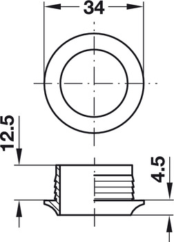 Rosette, for Push-Lock, for plate thickness 16 mm