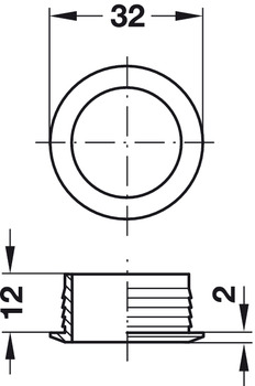 Rosette, for Push-Lock, for plate thickness 19 mm