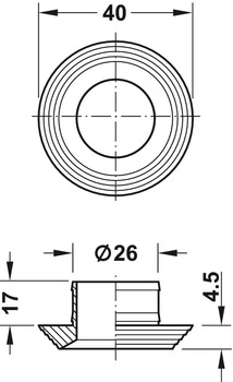 Rosette, for Push-Lock, for plate thickness 16 or 19 mm