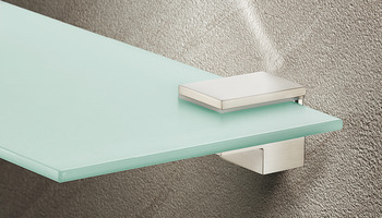 Shelf support with clamp, Design, for wood and glass