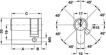 Single cylinder, standard profile, keyed alike S1, Startec