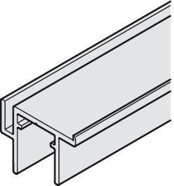 Single guide track, Bottom, with stop strip, for screw fixing to base panel