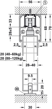 Sliding door fitting, Slido Classic 80-P, set