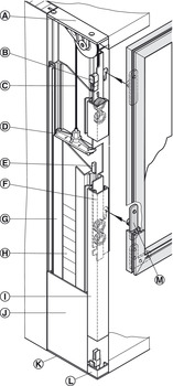Sliding door fitting, Slido Vertico 20 VF A, set