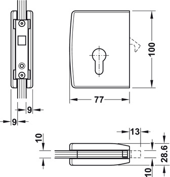Sliding door lock, with compass bolt, for glass sliding doors