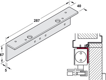 Soffit fixing bracket, for overhead installation, for TS 4000, Geze