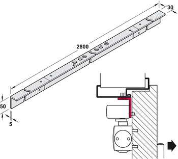 Soffit fixing bracket, for TS 5000 L-ISM VPK, overhead door closer, Geze