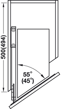 soft closing mechanism set, Front pull-out for diagonal larder unit
