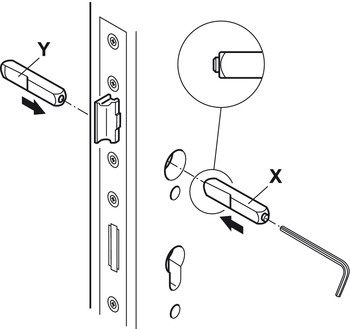 Spindle, 9 mm, split, for emergency exit doors in compliance with DIN EN 1125