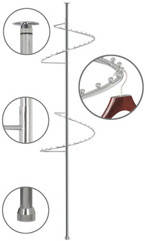 Spiral garment rail, swivels by 360°, steel, chrome plated, polished