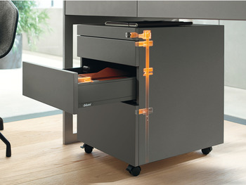 Strike box set, Blum Cabloxx Central locking system for drawer side runner systems and wooden drawers