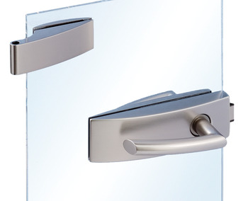 Strike patch fitting set for glass doors , Arcos Studio, Dorma Glas, with 2-piece hinges
