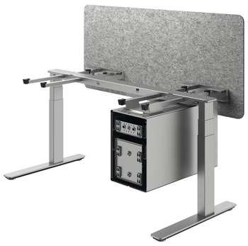 Table base, Häfele Officys TE651 Complete set, with large pedestal and longitudinal screen