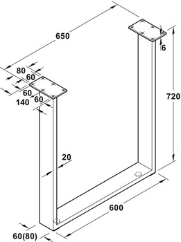 Table leg frame, For screw fixing, load bearing capacity 150 kg