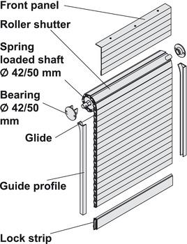 Tambour door, Version C, aluminium