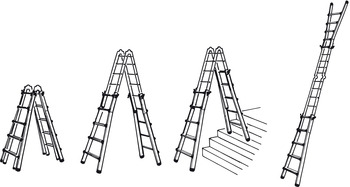 Telescopic ladder, Aluminium, 4x4 step, 4 usage options | online at