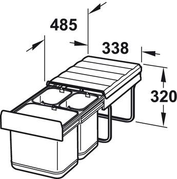 Three-bin waste sorter, 1 x 16 and 2 x 8 litres, bin: Stainless steel