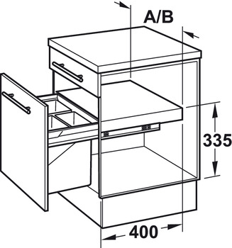 Two and three compartment waste bin, 2 x 11 litres / 2 x 17 litres / 1 x 17 and 2 x 8 litres