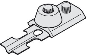Track stopper, with rubber buffer and retaining spring
