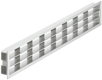 Ventilation grills, plastic, with fixing clips, with louvres