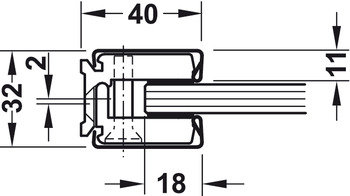 Wall and ceiling connection profile, Startec, for glass double action action doors