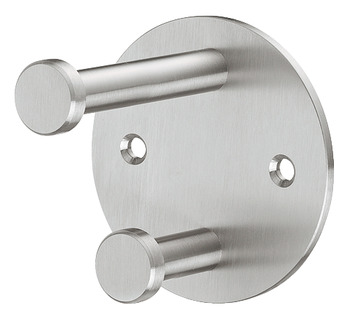 Wardrobe hook, Stainless steel, with 2 hooks, round rose