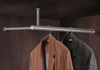 Wardrobe rack, stainless steel, for fitting beneath shelf, to wooden rear panel and to side panel