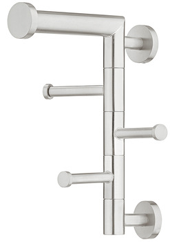 Wardrobe rack, Stainless steel, with 3 hooks, wall mounting