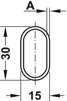 Wardrobe rail, OVA 30 x 15 mm