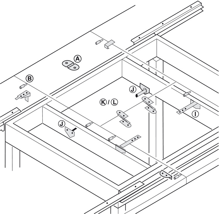 Folding Fitting For Extension Leaf For Tables With Open Table