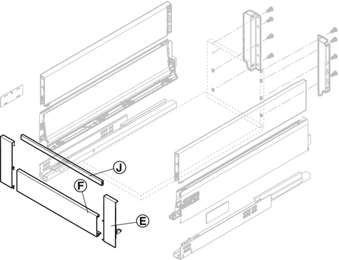 Cross Railing Tandembox Antaro For Internal Drawer Box With