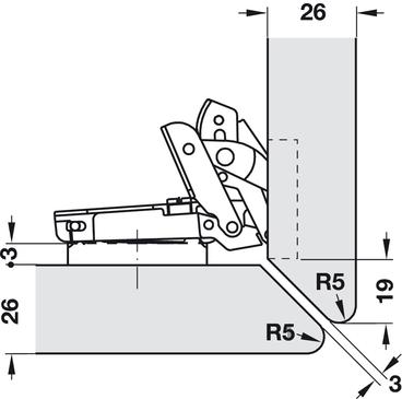 topfscharnier h fele duomatic 110 f r falz und profilt ren eckanschlag online bei h fele. Black Bedroom Furniture Sets. Home Design Ideas