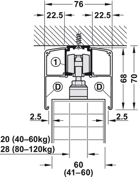 Sliding door fitting, Slido Classic 40-P to 120-P   online