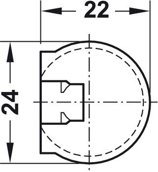 förbindelsehus,Häfele Rafix Tab 20, plast, Med krage